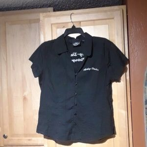 Harley Davidson Black With Print Button Down Top